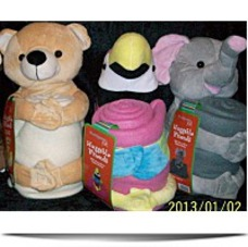 3 Plush Toys And Fleece Throws Bear